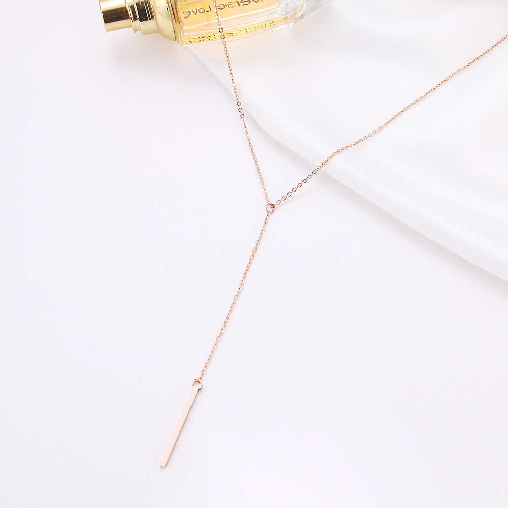 DOTIFI naszyjnik ze stali nierdzewnej dla kobiet kochanek prosty długi kij wisiorek naszyjniki metalowy pasek łańcuchowy różany złoty naszyjnik typu Choker