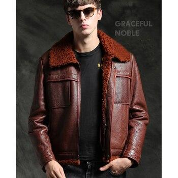sheepskin coat isaco Quality Brown Sheepskin Fur Shearling Coat Men Sheepskin Coat Real Natural Winter Warm Jackets Thicken Genuine Leather Outwear