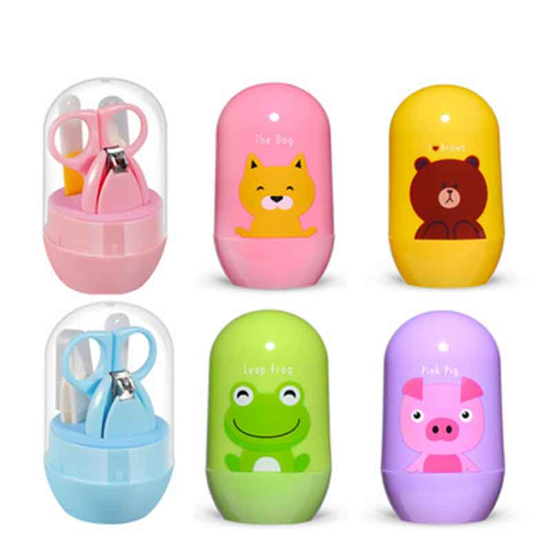 4Pcs/Set Newborn Baby Nail Care Kit Kids Nail Cutter Set Cute Cartoon Infant Baby Nail Trimmer Clippers Scissors Nail Products