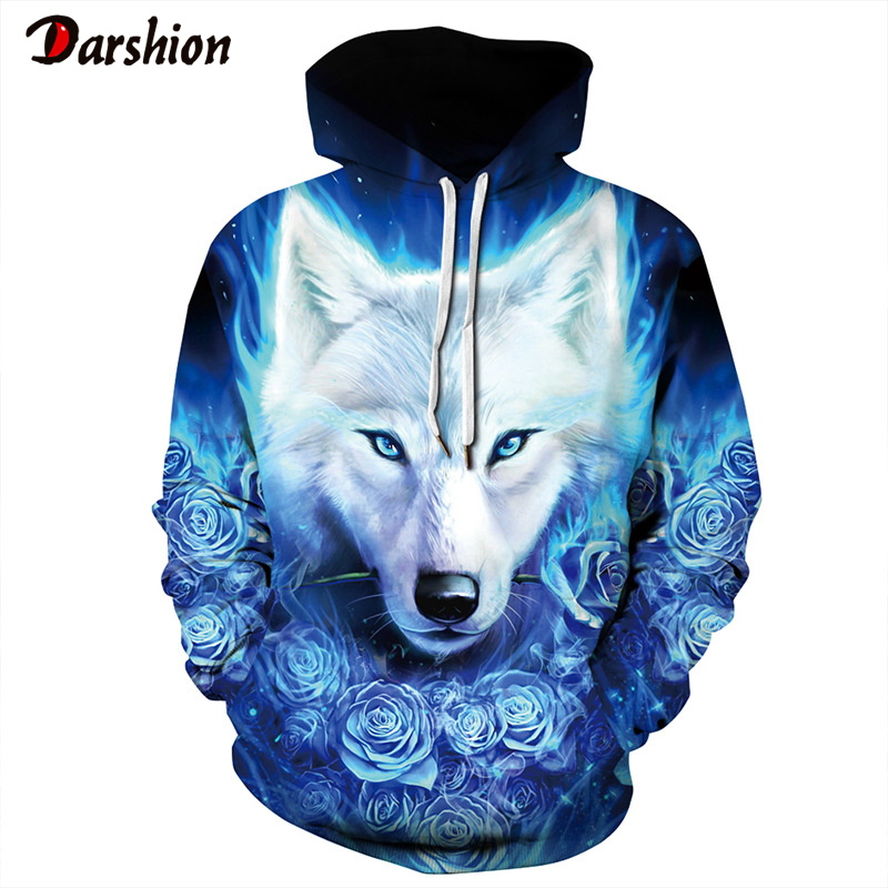 3D Animals Wolf Print High Quality Men's Hoodies Sweatshirt Fashion Brand Men Funny Plus Size XXS-4XL Hoodies For Male Pullovers