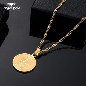 Image 1 - Round Allah Stainless Steel Pendant Quran Necklace Islam Muslim Arabic God Messager Gift Middle East Arab Jewelry Drop Shipping