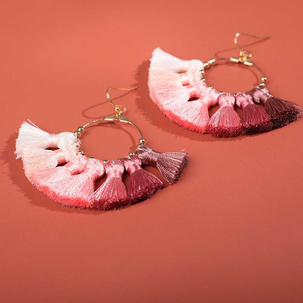 Hot Sale Luxury Rainbow Long Tassel Earrings for Women Bohemian Exaggerate Big Geometric Dangle Fringed Earring Girls Brincos