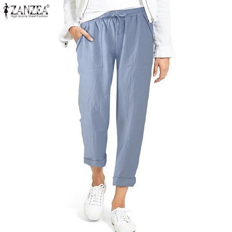 ZANZEA Women Harem Pants Summer Solid Cotton Linen Trousers Casual Elastic Waist Long Turnip Pants Female Loose Pantalon S-5XL