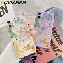 Kowkaka Cartoon Leopard Pattern Phone Case For iPhone 11 Pro Max SE 2020 XR XS Max X 7 8 Plus Clear Camera Protection Back Cover