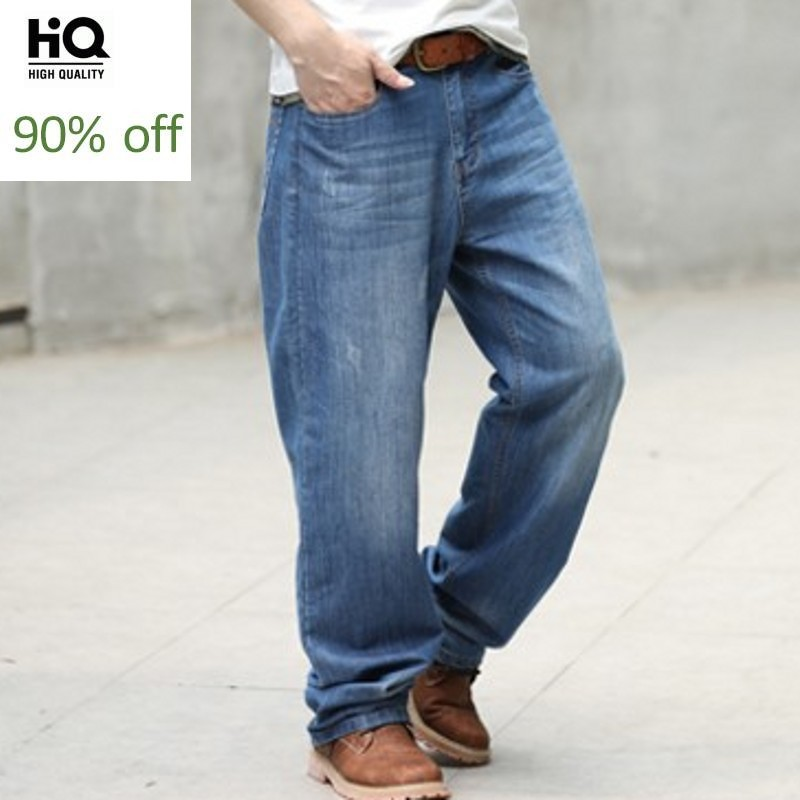 Business Casual Pants 2020 Spring Straight Hot Fashion Brand Jeans For Mens Solid Loose Fit Jean Man Plus Size 40 To 48