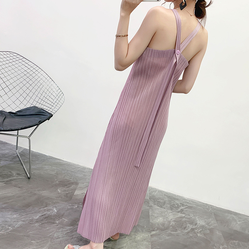 LANMREM Pleated suspender dresses famale 2020 summer new Japanese style all-match off-shoulder women's clothes elastic YJ259