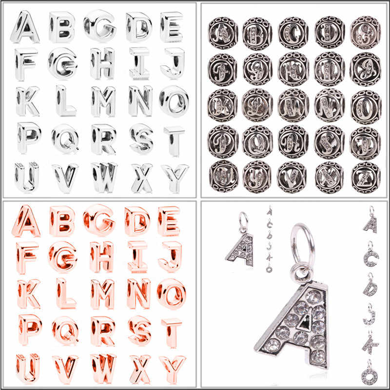 Couqcy Сплав покрытием Бусины Шарм Письмо ясно 26 A-Z оригинальные бусы с алфавитом кулон подходит для женщин Pandora браслет и браслет ювелирные изделия