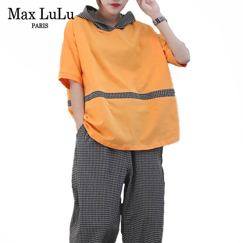 Max LuLu 2020 Sommer Mode Trainingsanzüge Damen Mit Kapuze Tops Und Plaid Harem Hosen Frauen Vintage Zwei Stück Sets Casual Streetwear