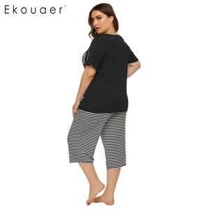 Image 5 - Ekouaer Mulheres Plus Size Conjuntos de Pijama Pijamas de Verão de Manga Curta Tops Listrado Capri Calças Pijama Terno Sleepwear Feminino