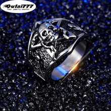 oulai777 2019 stainless steel wholesale Cool fashion Domineering skull ring Gold silver gothic mens rings men male punk big