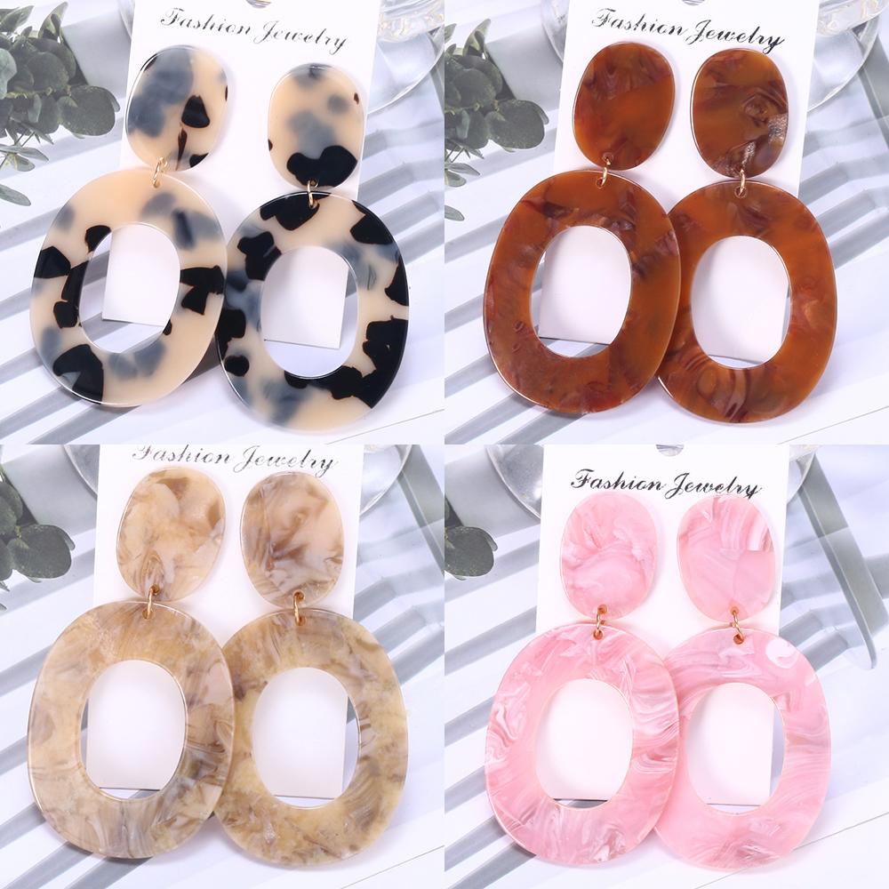 HOCOLE Fashion Acrylic Earrings For Women Tortoise Color Leopard Print Acetic Acid Round Resin Drop Earring Statement Jewelry