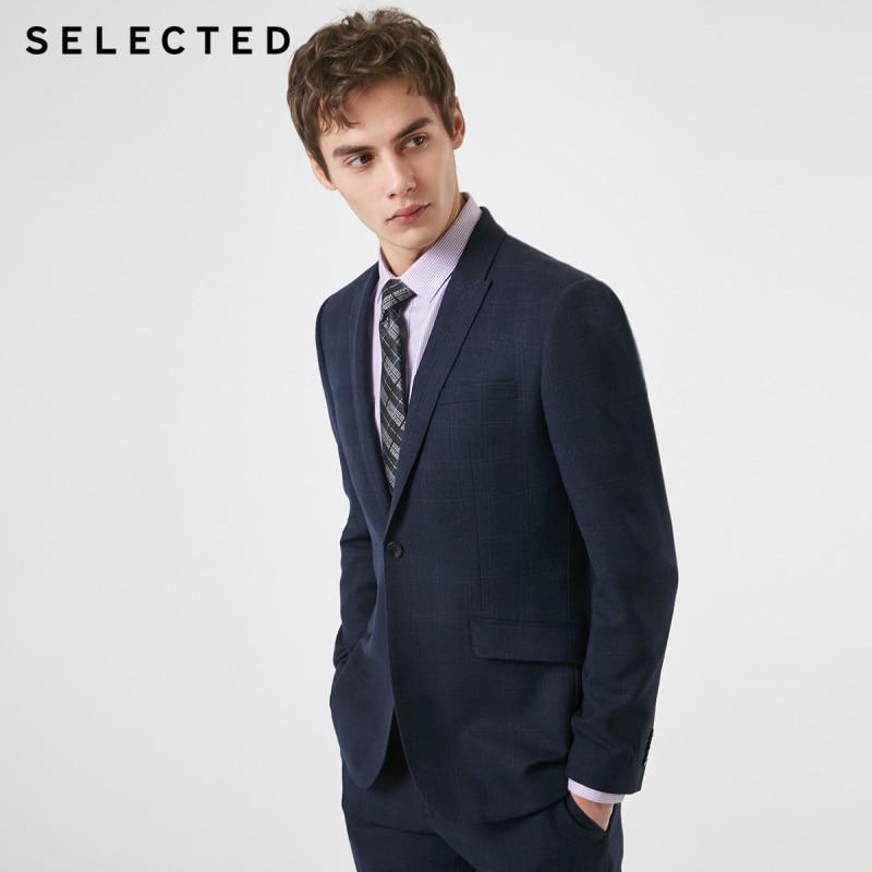 SELECTED Men's Slim Fit Woolen Dark Plaid Closure Collar Blazer Jacket T|41915Y504