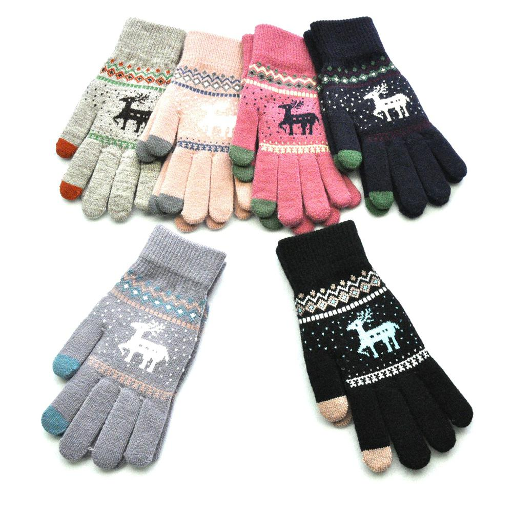 Womens Men Winter Warm Touch Screen Gloves Wool Knitted Christmas Elk Gloves Full Finger Gloves