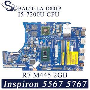 KEFU LA-D801P Laptop motherboard für Dell Inspiron 15-5567 17-5767 original mainboard I5-7200U R7-M445