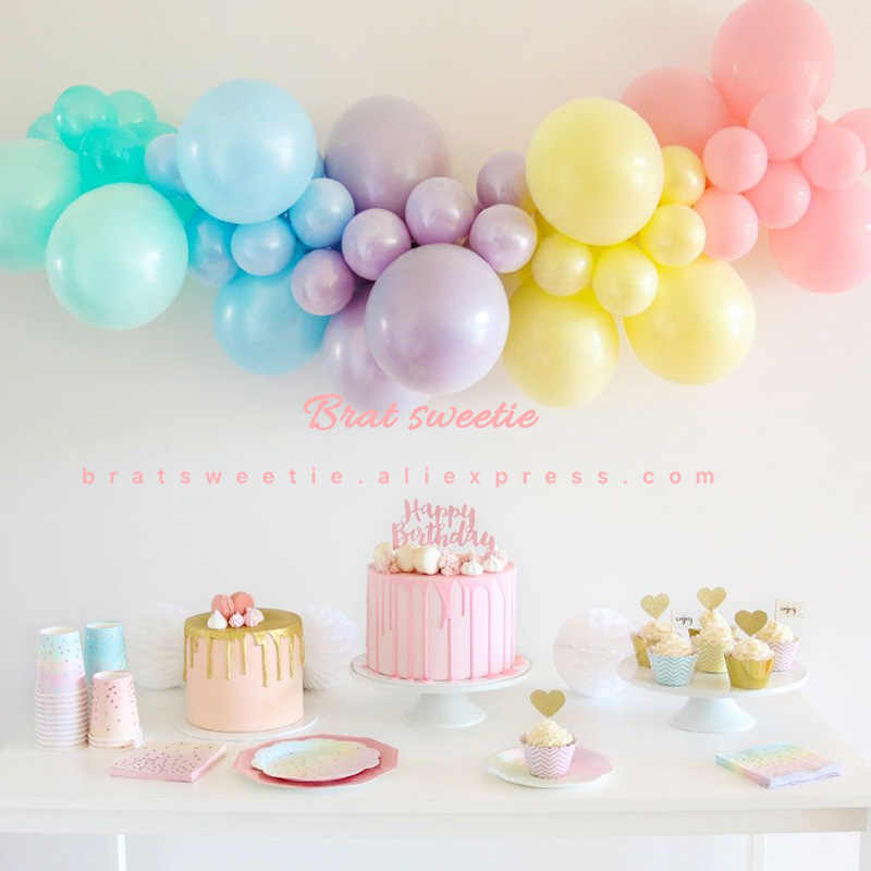 Unicorn Balon Pesta Garland Arch Kit Rainbow Macaron Pastel Balon Bayi Gadis Pesta Ulang Tahun Latar Belakang Dekorasi Paskah