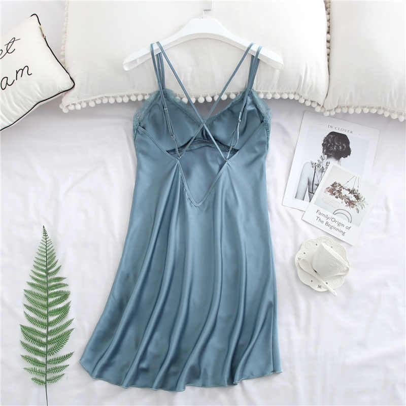 BZEL ผู้หญิงผ้าไหม Nightgown เซ็กซี่ Stain Sleepwear ชุดนอน V คอของแข็ง Night ชุด Lace Nightie สวมใส่ฤดูร้อนชุดชั้นใน