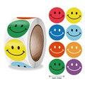 Наклейка со смайликом для детей, 500 шт./рулон, наклейка для награждения, желтые точки, наклейки, счастливая улыбка, наклейка для лица, детские ...