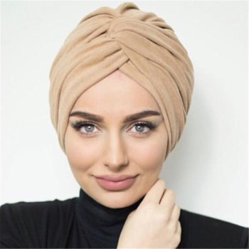 2020 Trendy suede turban caps for women plain color muslim hijab scarf india african head wraps turbante mujer headscarf bonnet