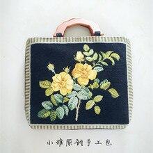 2018 Angelatracy Cashmere Embroidery Vintage Flower Floral Lace Handmade Unique Design Women Handbag Wooden Court French Bags
