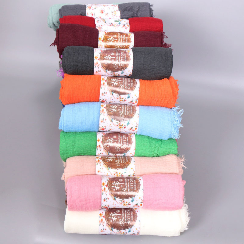 Image 2 - Women Muslim Plain Soft Crinkle Cotton Hijab Scarf Long Shawl  Islamic Wrap Stole Female Scarves Fashion Headscarf Hijabs  MufflerWomens Scarves