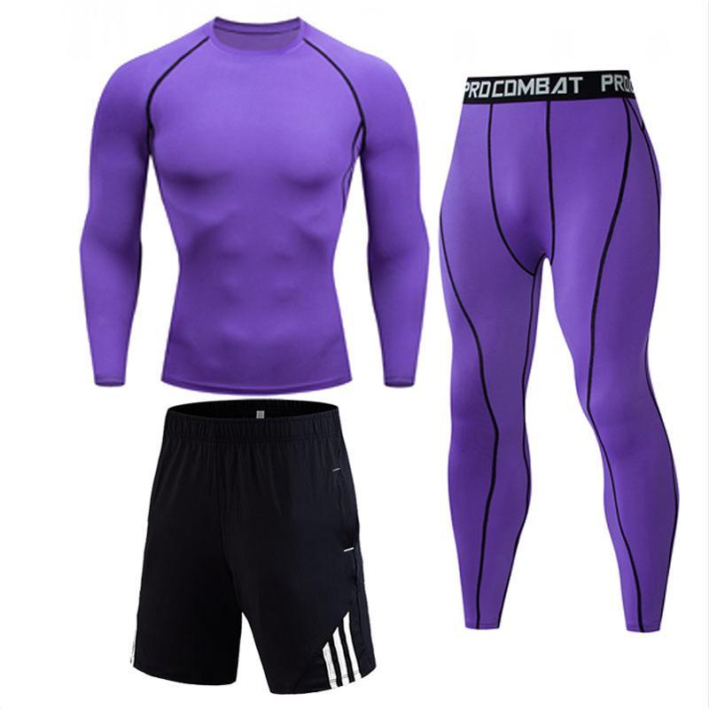 Men's Compressed Long Sleeve Shirt Pants Shorts Fitness MMA Clothing Tactical Rashguard Jiu Jitsu Crossfit T-Shirt Jogging Suits