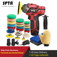 SPTA 12V Cordless Car Polisher Drill Driver Variable Speed Polisher With 1500mAh Li ion Battery and Polishing Pads Accessories