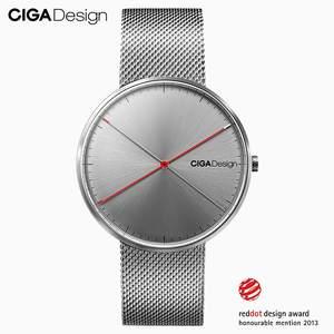 CIGA Design CIGA reloj de cuarzo simple correa de acero rojo diseño de lunares Premio reloj de moda para hombres Relojes