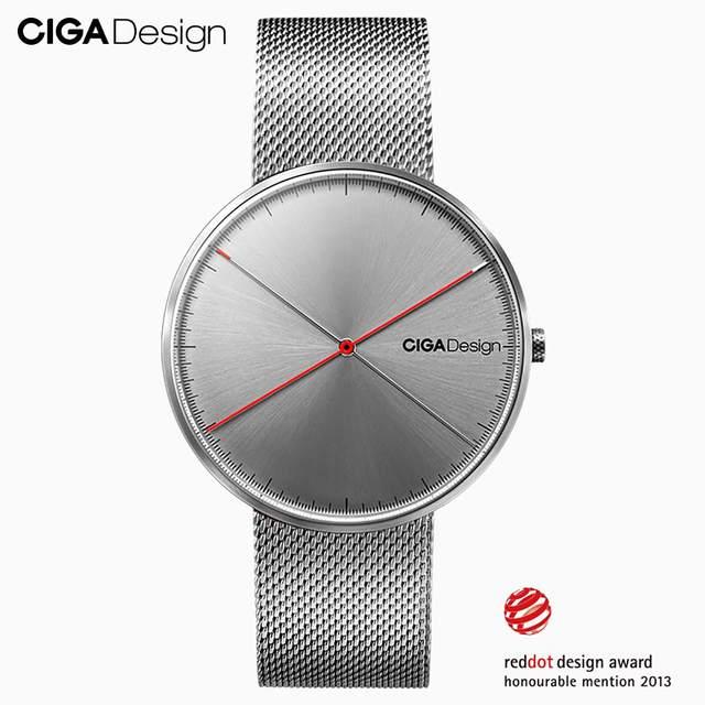 CIGA conception CIGA montre CIGA montre à Quartz Simple montre à Quartz ceinture en acier point rouge conception prix montre montres de mode pour hommes