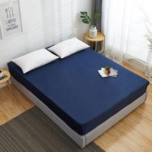 1Pc bawełniane dopasowane arkusz jednokolorowa do łóżka arkusz kolor dookoła elastyczna gumka pokrycie materaca Queen King arkusze 140x200 160x200