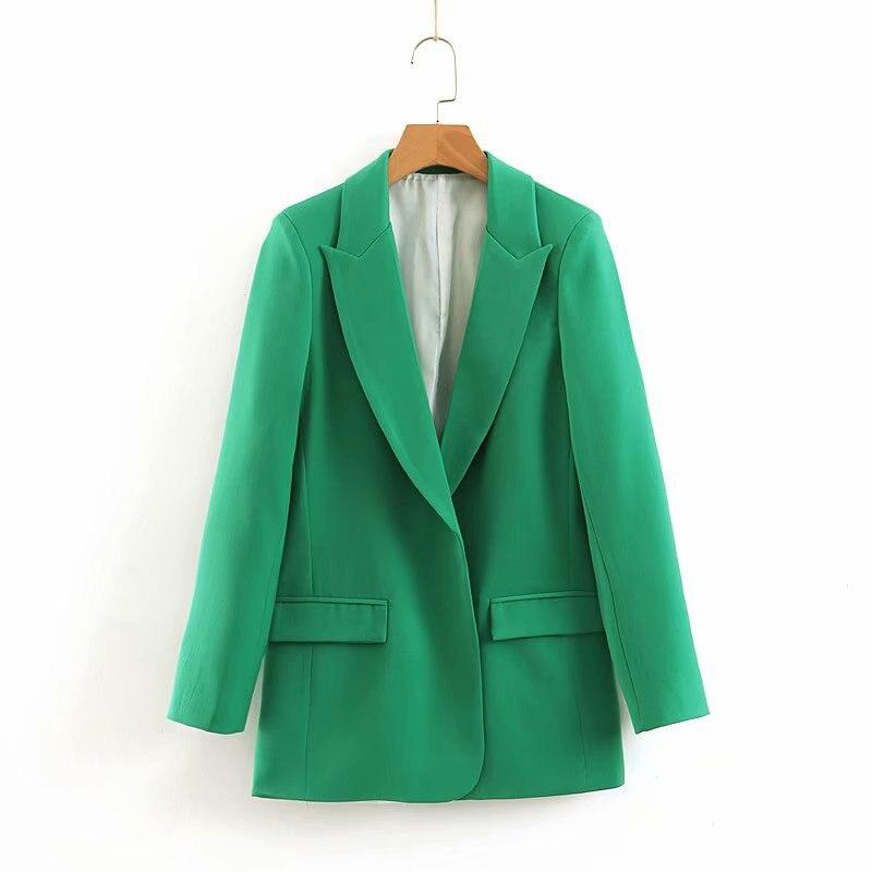 2019 Fall Women Casual Green Notched Blazer Solid Office Lady Pockets Jackets Cardigan Long Sleeve Blazer