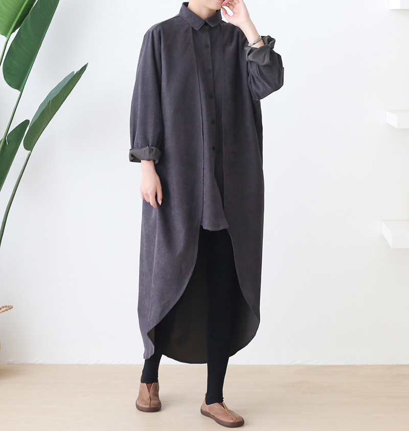 New Autumn 2020 Large Size Loose Black Shirt Coat Women Korea Fashion New Loose Street Wear Long Sleeve Irregular Long Jacket Women Women's Clothings cb5feb1b7314637725a2e7: black|gray