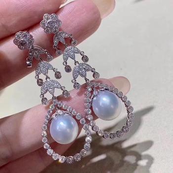 D319 Pure 925 Sterling Silver Fine Jewelry Fresh Water White Round Pearls 8-9mm Dangle Earrings for Women Fine Pearl Earrings