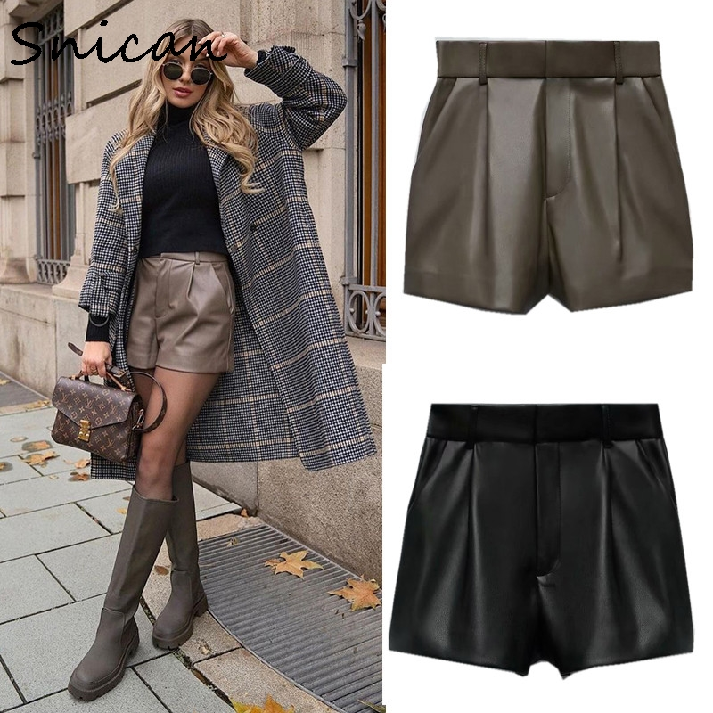 Snican Sexy High Waist Faux Pu Leather Shorts Za 2021 Women Bottom pantalon Taille Haute Spring Vintage Solid Short Cuir Femme