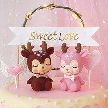 Cakelove 1Pcs Cartoon Sika Deer Cupcake Cake Topper Baby Shower Child Birthday Party Supplies Baking Decorative