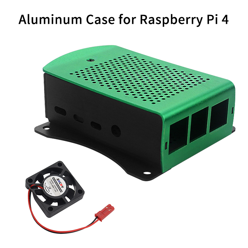 Raspberry Pi 4 Case Aluminum Alloy Box Black Metal Shell Hanging Bracket With Cooling Fan For Raspberry Pi 4 Model B