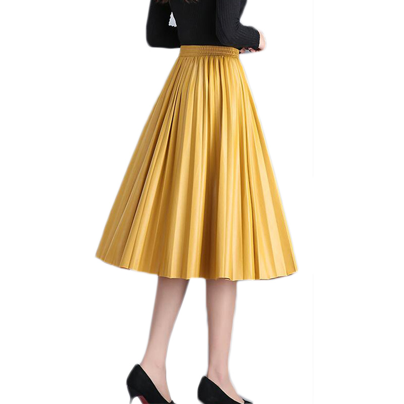 Fashion High Waist Pleated Pu Faux Leather Skirt Women Autumn Winter Elegant Midi Long Skirts Female Yellow Green Leather Skirt
