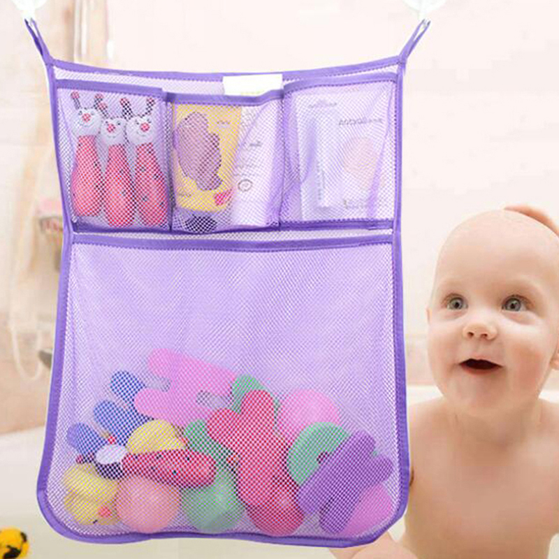 Baby Bed Hanging Storage Bag Crib Organizer Toy Diaper Pocket For Cradle Bedding Baby Bathroom Toy Doge Double Storage Net Bag