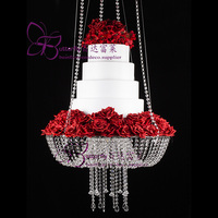 Acrylic Chandelier Style Drape Suspended Cake swing Weeding Round cake plate stand