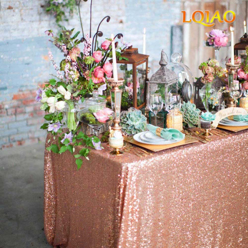120x200cm/120x400cm Glitter Sequin RECTANGULAR Tablecloth - Rose Gold Sequin Table Cloth For Wedding Party Christmas Decoration
