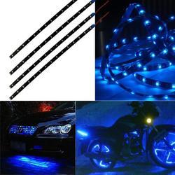 4pcs 12V 15 LED Car Truck Motor Grill Flexible Waterproof Light Strips Home Automotive LED Light Source Decor Light Blue