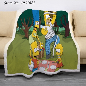 The Simpsons Fleece Blanket for Beds Fashion Bedspread Sherpa Throw Blanket Adults / Kids  1
