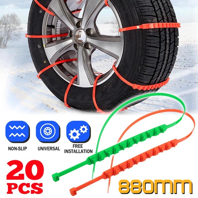 20pcs Snow Chains Universal Car Suit 145-295mm Tyre Winter Roadway Safety Tire Chains Snow Climbing Mud Ground Anti Slip