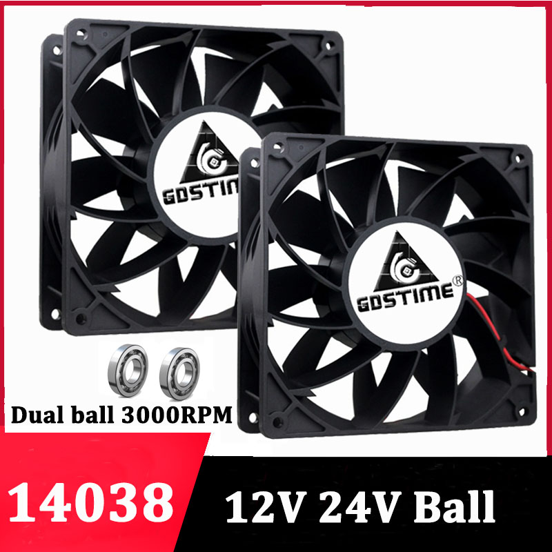 Gdstime 24V 12V <font><b>140mm</b></font> 14038 Axial Cooling <font><b>Fan</b></font> Computer Case CPU Cooler Miner <font><b>Fan</b></font> DC Brushless ball bearing 140x38mm Heat Sink image