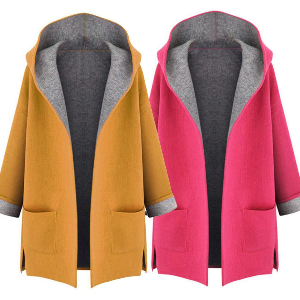 Winter Coat Women Fashion Trench Long Coat Loose Outwear Female Overcoat Yellow Red Long Sleeve Cardigan Manteau Femme пальто
