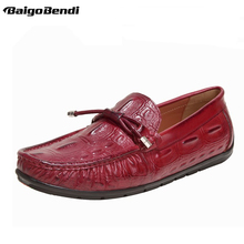 Mens Hight Quality Crocodile Pattern Genuine Leather Men Loafers Soft Outsole Slip On Driving Car Shoes Leisure Man