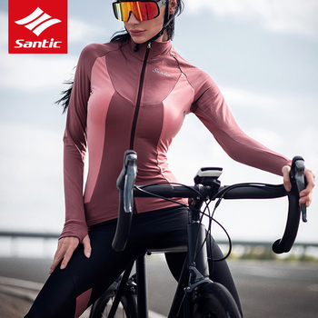 Santic Women Cycling Jersey Autumn Winter Thermal Fleece Bike Bicycle Jersey Long Sleeve Windproof Cycle Clothing Ropa Ciclismo