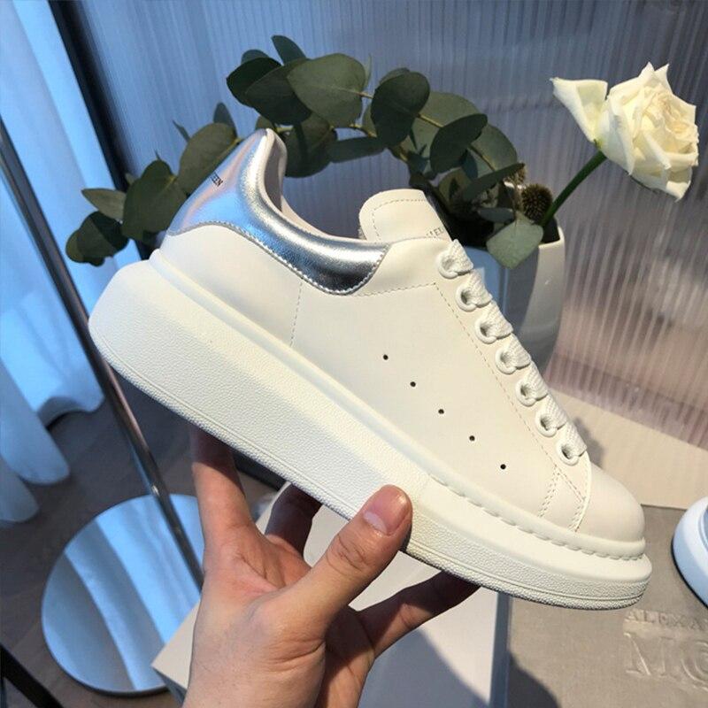 Alta qualidade das mulheres e dos homens sapatos brancos tamanho 34-44 amantes da primavera apartamentos de couro genuíno sapatos femininos brancos sapatos casuais alaxander