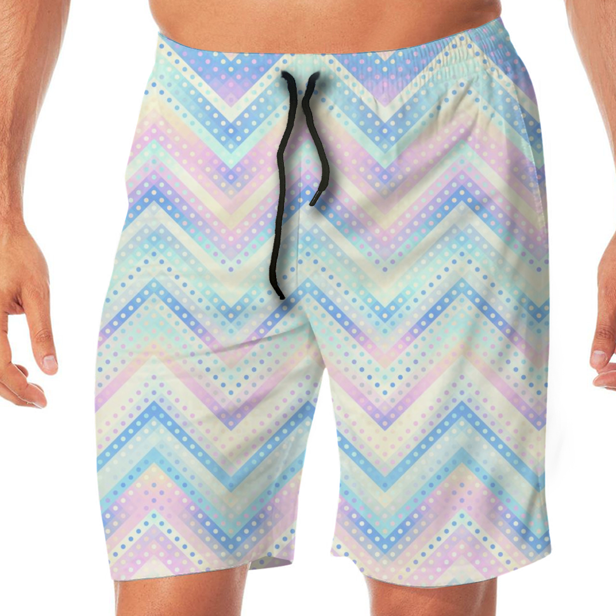 Summer Geometric Chevron Shapes Polka Dot Pattern Men Novelty Gay Funny Lounge Pants Beachwear