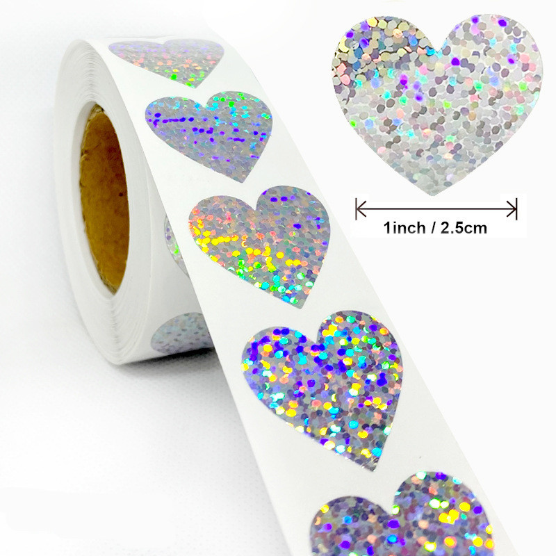 Exquisite 500pcs Laser Blank Love Heart Stars Round Stickers Handmade Decoration Holiday Birthday Party 1''Sealing Label Sticker