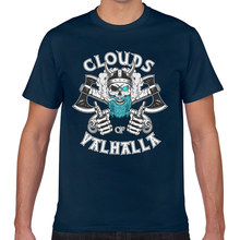Tops T Shirt Men funny clouds of valhalla vape for vaper Casual Black Geek Short Male Tshirt XXX(China)